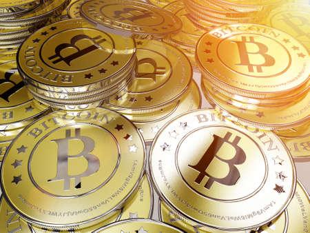 lots of bitcoins - the new virtual money Stock Photo - 24092335