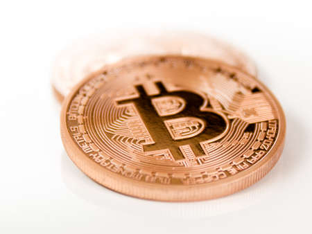 2 bitcoins - bit coin BTC the new virtual money 免版税图像