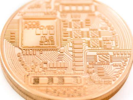 gold mining: backside of a bitcoin coin - bit coin BTC the new virtual money Stock Photo