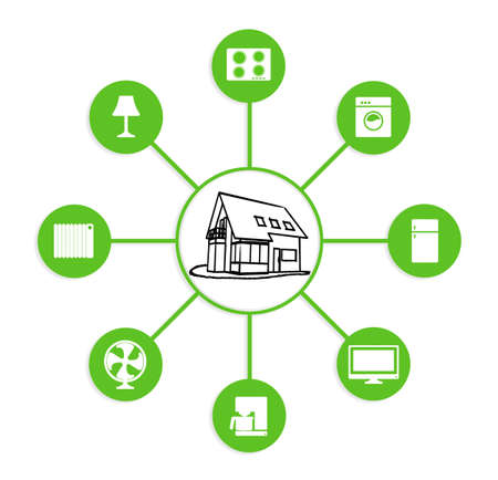 energy management: smart house device illustration with app icons Stock Photo