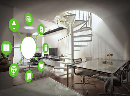 technologies: smart house device illustration with app icons Stock Photo