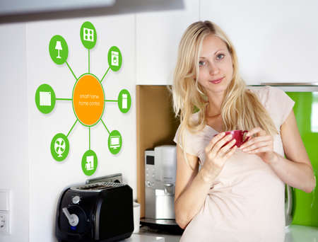 automation: smart house device illustration with app icons Stock Photo