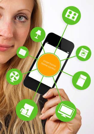 smart: slimme huis apparaat illustratie met app iconen