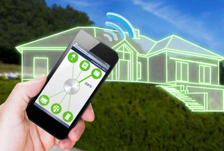 and heating: smart house device illustration with app icons Stock Photo