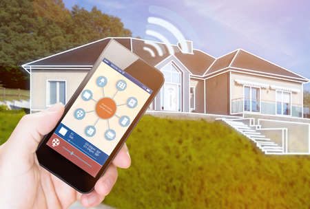 smarthouse device illustration with app icons