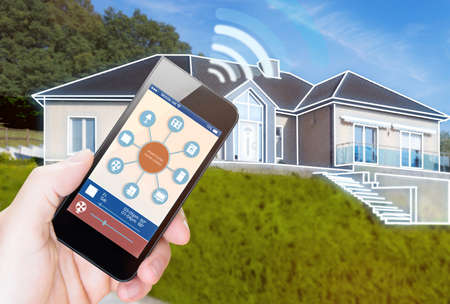 smart house, home automation, device illustration with app icons. It is in the nature holding his smartphone with smart home app