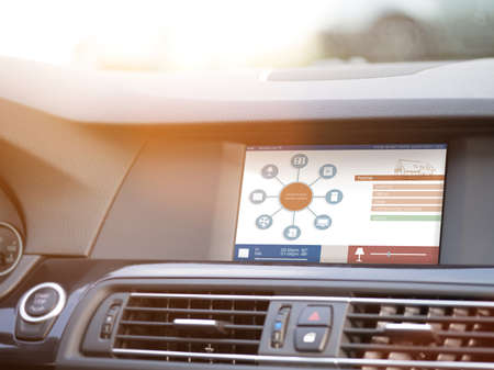 smart house, home automation, device illustration with app icons. Man is using his smart home automation car app