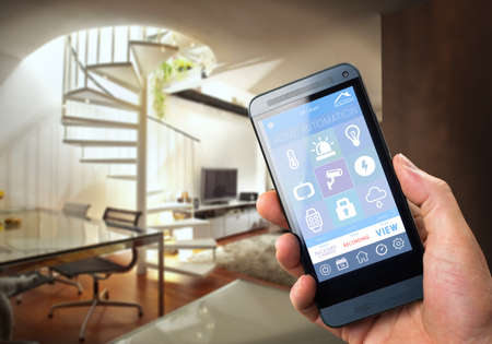 control system: smarthouse home automation device with app icons. Man uses his smartphone with smart home security app to unlock the door of his house.