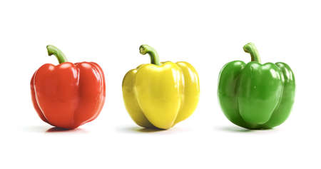 red, yellow, green bell pepper, paprika isolated on white background
