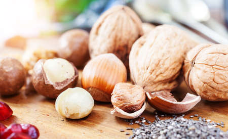 antioxidants: Superfood: variation of superfoods on wooden background