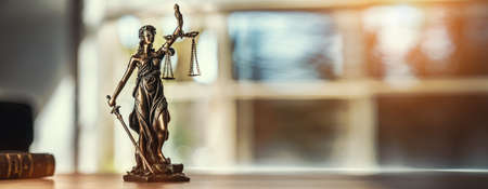 The Statue of Justice - lady justice or Iustitia  Justitia the Roman goddess of Justice Imagens