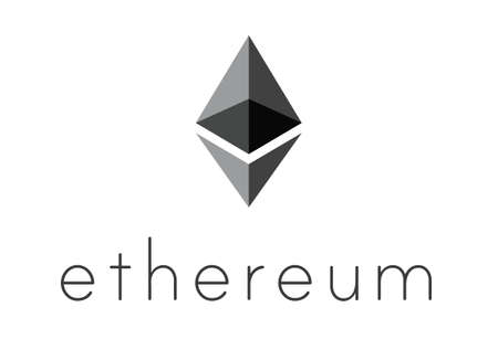decoding: AACHEN, GERMANY - JUNE 14, 2017: Illustration of Ethereum Logo on simple Background. Ethereum is a security computer encryption concept for online banking and secure contract technology