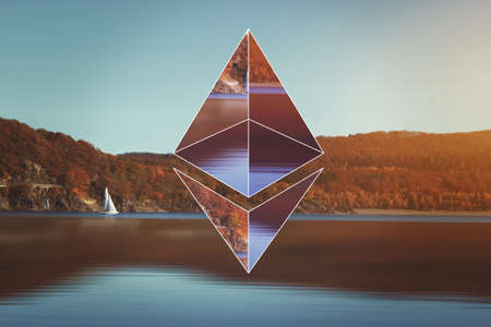 encoding: AACHEN, GERMANY - JUNE 14, 2017: Illustration of Ethereum logo on simple background. Ethereum is a security computer encryption concept for online banking and secure contract technology