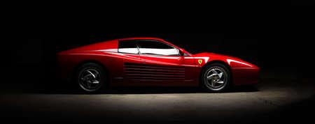 Aachen, Germany, June 14, 2013: Arranged Street shot of an historic Ferrari 512B testarossa car. Editorial