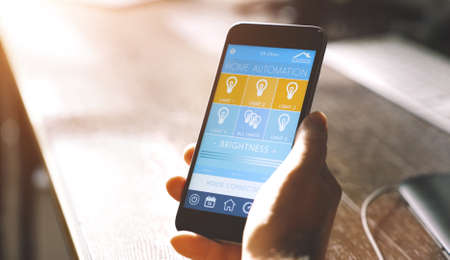 smart house device smartphone with app icons