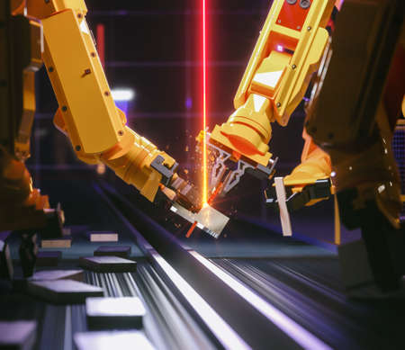 Smart automation industry robot in action - industry 4.0 concept - 3D Rendering