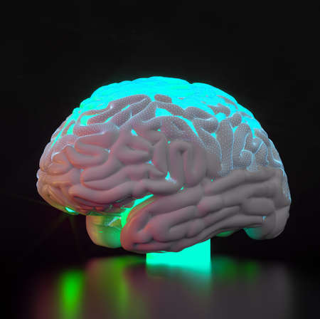 artificial intelligence brain simulation - deep learning Ai concept - 3D Rendering Stock Photo