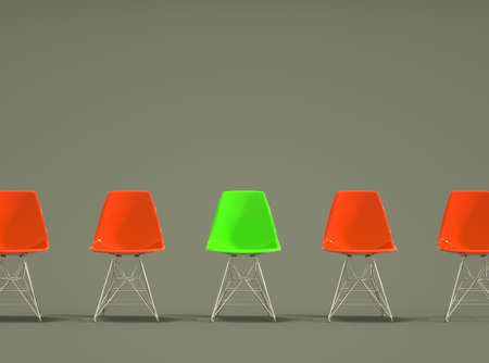 Row of modern design chairs with one odd one out. Job opportunity. Business leadership. recruitment concept. 3D rendering