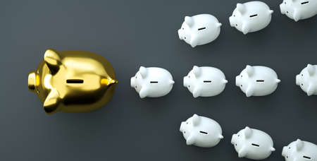 Golden piggy bank as row leader for the right direction of wealth, investment and development concept Stock Photo