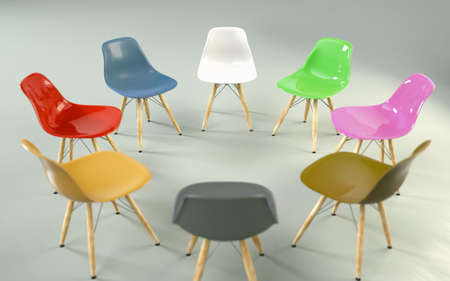 circle of modern design chairs with one odd one out. Job opportunity. Business leadership. recruitment concept. 3D rendering