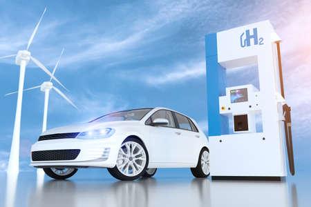 Hydrogen logo on gas stations fuel dispenser. Stock Photo