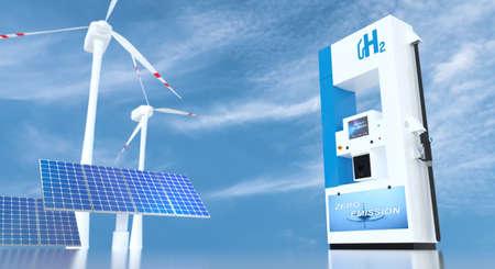 Wasserstoff an Tankstellen Zapfsäulen. h2-Verbrennungs-LKW-Motor für emissionsfreien, umweltfreundlichen Transport. 3D-Rendering