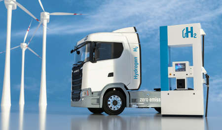 hydrogen on gas stations fuel dispenser. h2 combustion Truck engine for emission free ecofriendly transport. 3d rendering Foto de archivo