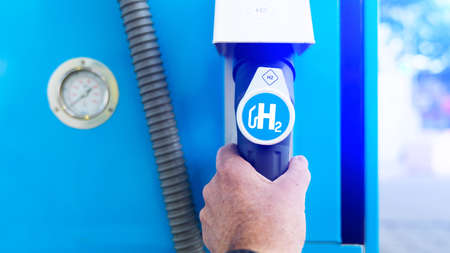 hydrogen on gas stations fuel dispenser. h2 combustion engine for emission free eco friendly transport.