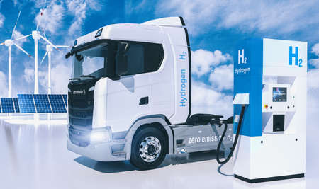 hydrogen logo on gas stations fuel dispenser. h2 combustion Truck engine for emission free ecofriendly transport. 3d rendering