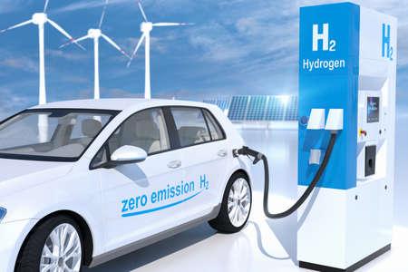 hydrogen logo on gas stations fuel dispenser. h2 combustion engine for emission free ecofriendly transport. 3d rendering Standard-Bild