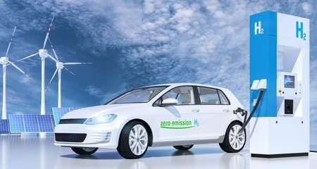 Wasserstoff an Tankstellen Zapfsäulen. h2-Verbrennungsmotor für emissionsfreien, umweltfreundlichen Transport. 3D-Rendering