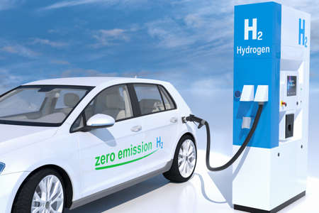 hydrogen on gas stations fuel dispenser. h2 combustion engine for emission free ecofriendly transport. 3d rendering