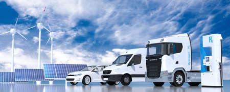 Wasserstoff an Tankstellen Zapfsäulen. h2-Verbrennung Lkw, Pkw-Automobilmotor für emissionsfreien, umweltfreundlichen Transport. 3D-Rendering