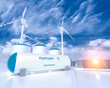 Hydrogen renewable energy production - hydrogen gas for clean electricity solar and windturbine facility. 3d rendering. Standard-Bild