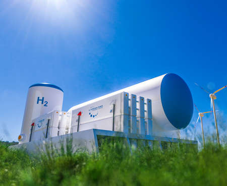 Hydrogen renewable energy production - hydrogen gas for clean electricity solar and wind turbine facility. 3d rendering. Standard-Bild