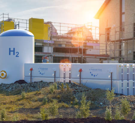 Hydrogen renewable energy production - energy storage hydrogen gas for clean electricity at private real estate home.