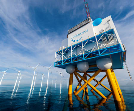 Hydrogen renewable offshore energy production - hydrogen h2 gas for clean electricity solar and windturbine facility. 3d rendering.