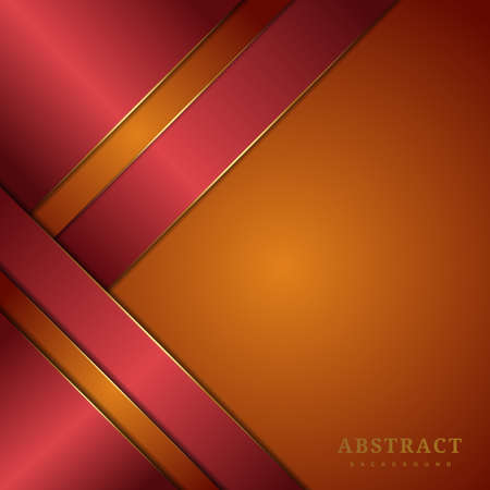 Abstract template orange and red triangle diagonal geometric overlapping with lighting on red background. Luxury style. Vector illustration