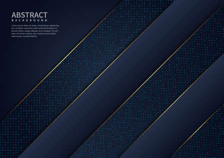 Abstract luxury dark blue background overlap layer with golden lines. You can use for ad, poster, template, business presentation, artwork. Vector illustration