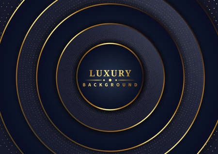 Abstract luxury dark blue overlap layers background with glitter and golden lines. Vector illustration
