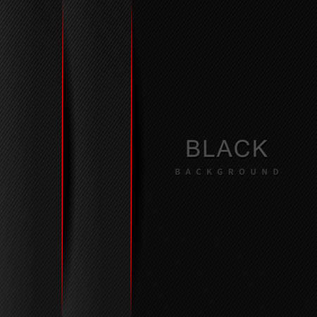 Abstract 3D black and gray gradient layer and shadow with border red and diagonal lines with copy space for text. Modern luxury. Vector illustration