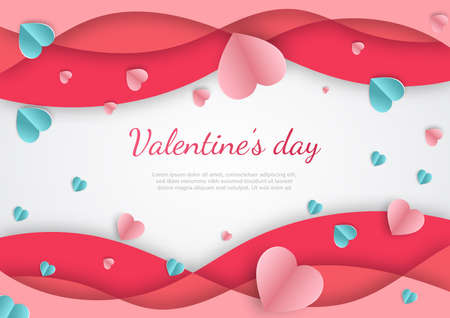 Valentine's day background. Abstract background. Hearts pink overlapping papaer cut card on white backgroungd. Design for valentine's day festival. Vector illustration