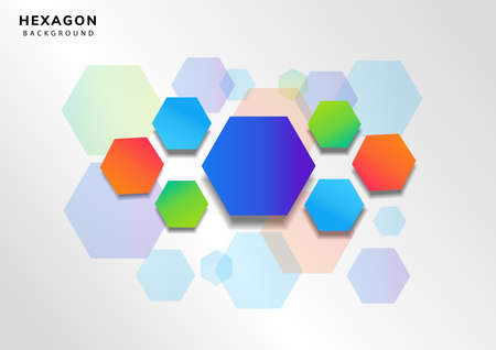 Abstract colorful geometric hexagon overlay pattern on white and gray background. Vector illustration Vector Illustratie