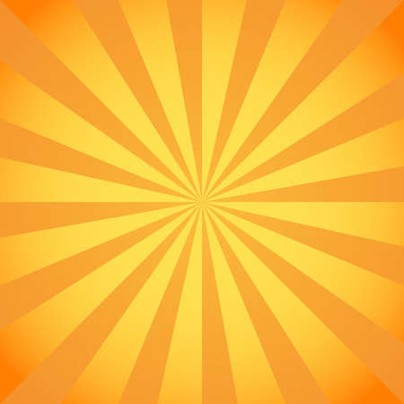 Yellow rays poster. Orange and light-orange abstract texture with sunburst, flare, beam. Retro art design. Glow bright pattern. Vector Illustration