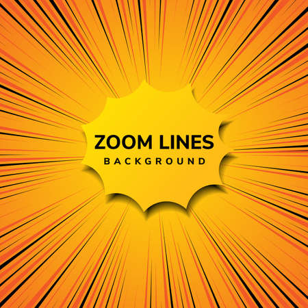 Abstract zoom line comic motion and pop art style with yellow on orange background. Vector illustration Vettoriali