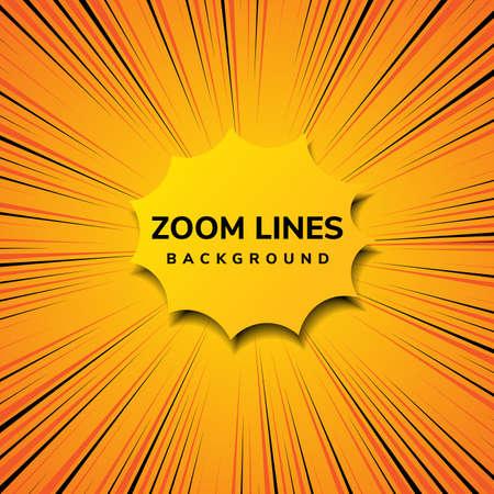 Abstract zoom line comic motion and pop art style with yellow on orange background. Vector illustration Vektoros illusztráció