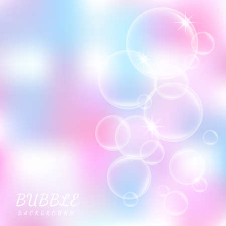 Abstract beautiful pink soap bubbles background. Vector illustration