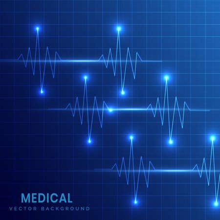 Medical background of heart beats on grid dark blue background. Vector illustration