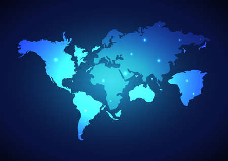 Abstract digital world map global social network. Technology background. Vector illustration