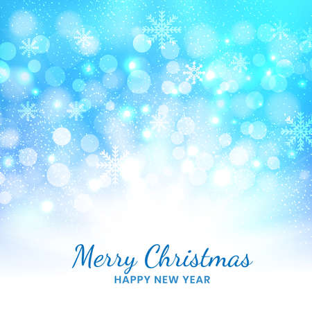 Christmas blue background of snowflakes and bokeh. Vector illustration Ilustração Vetorial